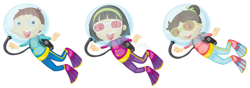 Trois plongeurs autonomes illustration de vecteur