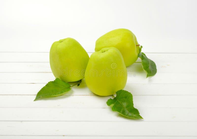 Trois pommes vertes image libre de droits