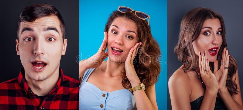 Trois portraits de jeune homme enthousiaste et de femmes Concept d'émotions photo stock