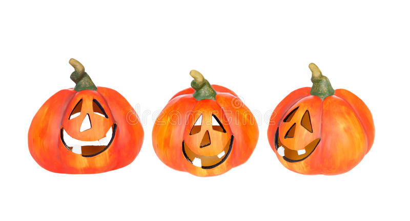 Trois potirons drôles de Halloween photo libre de droits