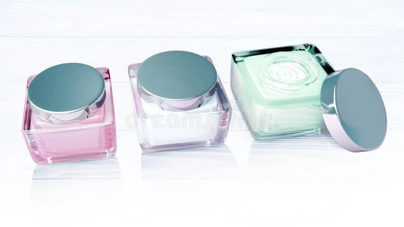 Trois pots de crème cosmétique situés sur un fond en bois clair illustration stock