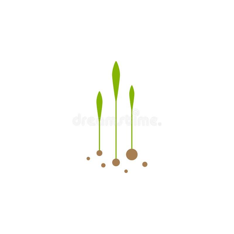 Trois pousses, brins, crus verts avec des feuilles et des graines icône d'isolement sur le blanc Symbole de croissance illustration libre de droits