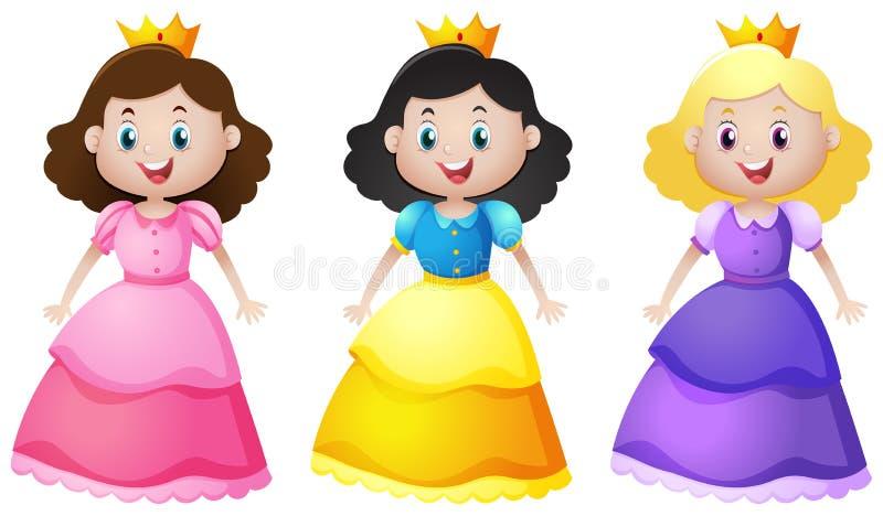 Trois princesses mignonnes avec le visage heureux illustration stock