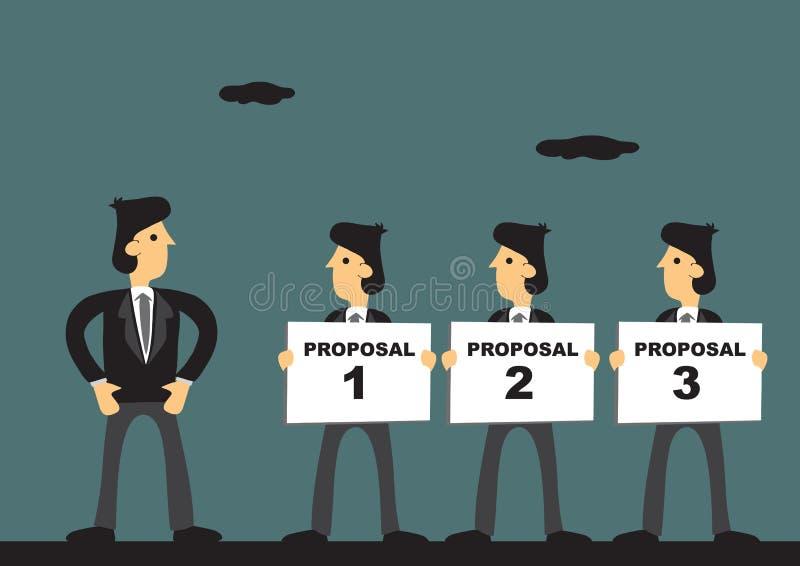 Trois propositions d'affaires pour lancer la bande dessinée de processus illustration stock