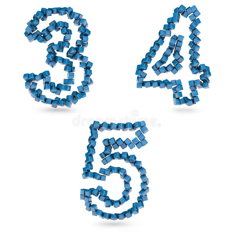 Trois, quatre, cinq chiffres effectués avec les cubes bleus illustration stock