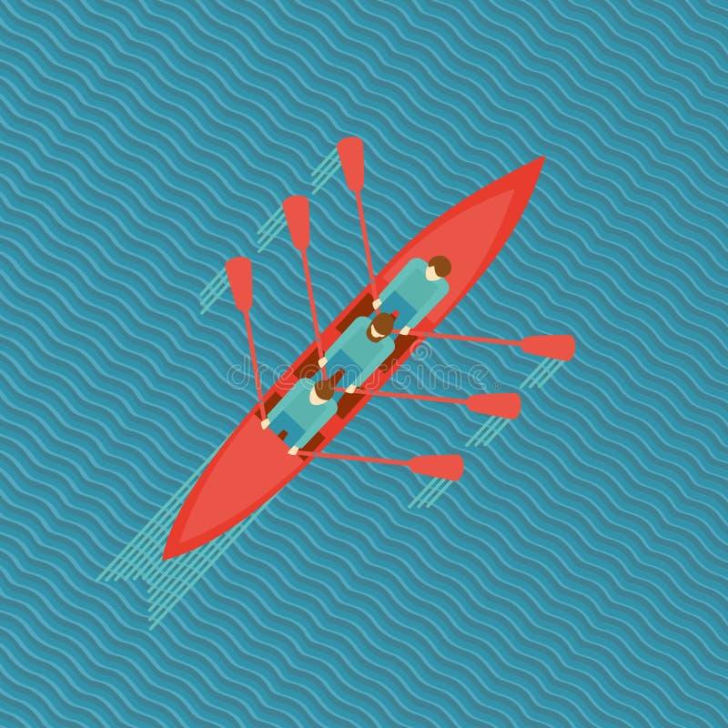 Trois rameurs dans un bateau illustration stock