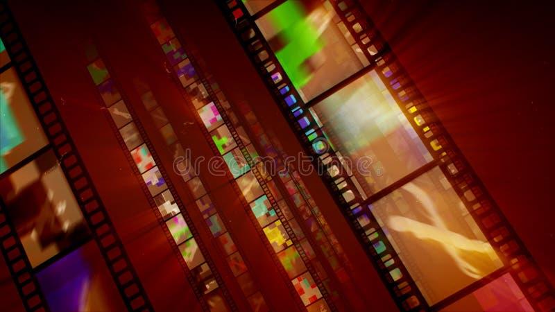 Trois rangées brunes de rétros rayures de film illustration de vecteur