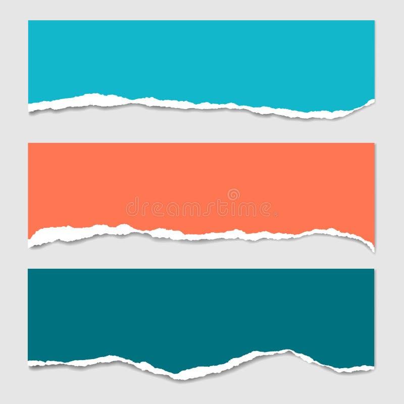 Trois rayures de papier déchiré coloré avec l'ombre et avec l'espace pour le texte, approprié à infographic ou à l'en-tête - d'is illustration libre de droits