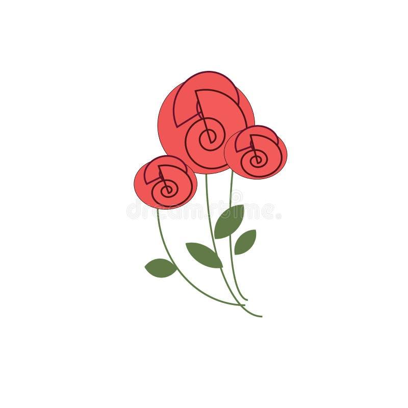 Trois roses rouges sur les tiges minces illustration stock