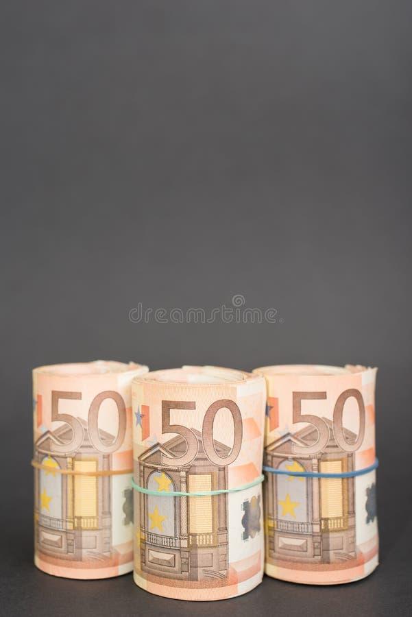 Trois rouleaux d'euro argent image libre de droits