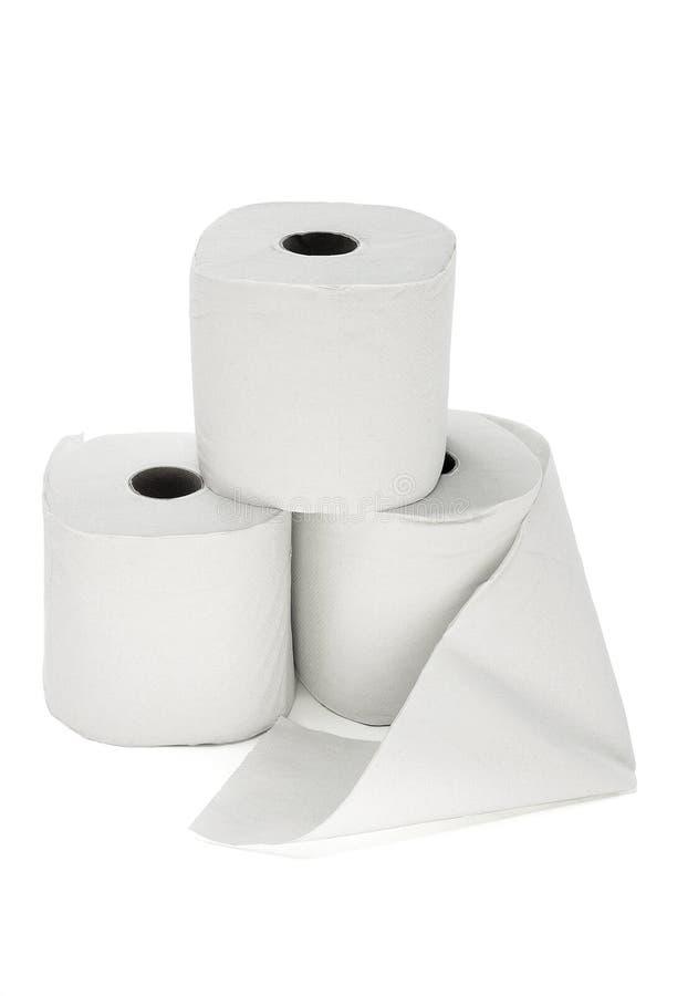 Trois rouleaux de papier hygiénique photographie stock libre de droits