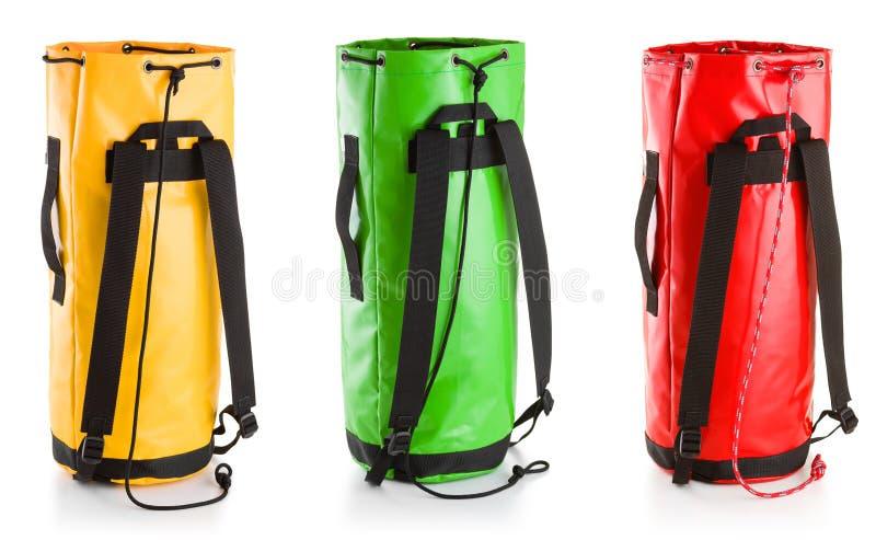 Trois sacs d'équipement sur le fond blanc photo libre de droits
