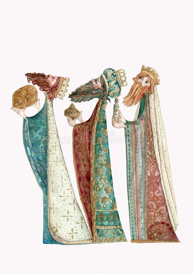 Trois sages, aquarelle illustration stock