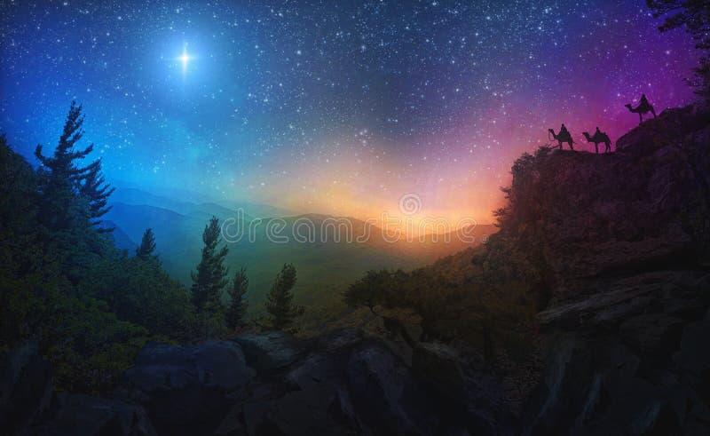 Trois sages et l'étoile photographie stock libre de droits
