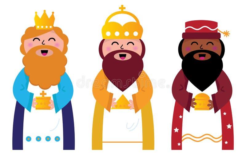 Trois sages portant des cadeaux au Christ illustration stock
