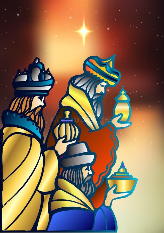 Trois sages rendent visite à Jesus Christ après sa naissance illustration de vecteur