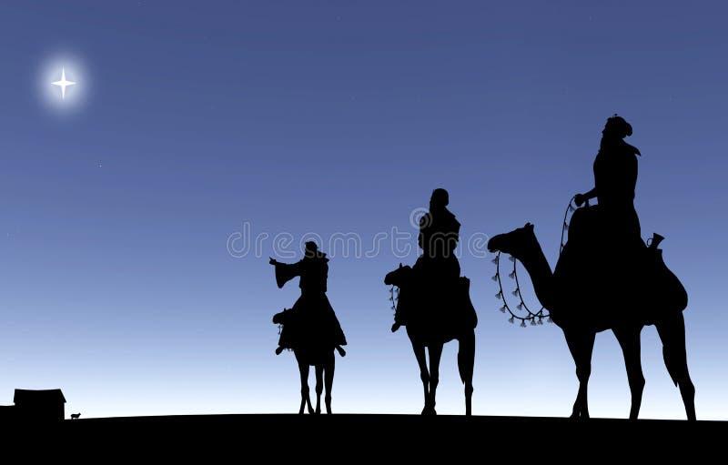 Trois sages suivant une étoile illustration libre de droits