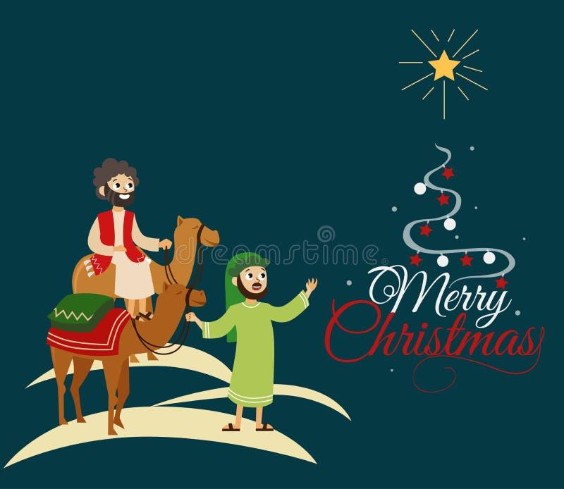 Trois sages sur des chameaux allant à Bethlehem illustration libre de droits
