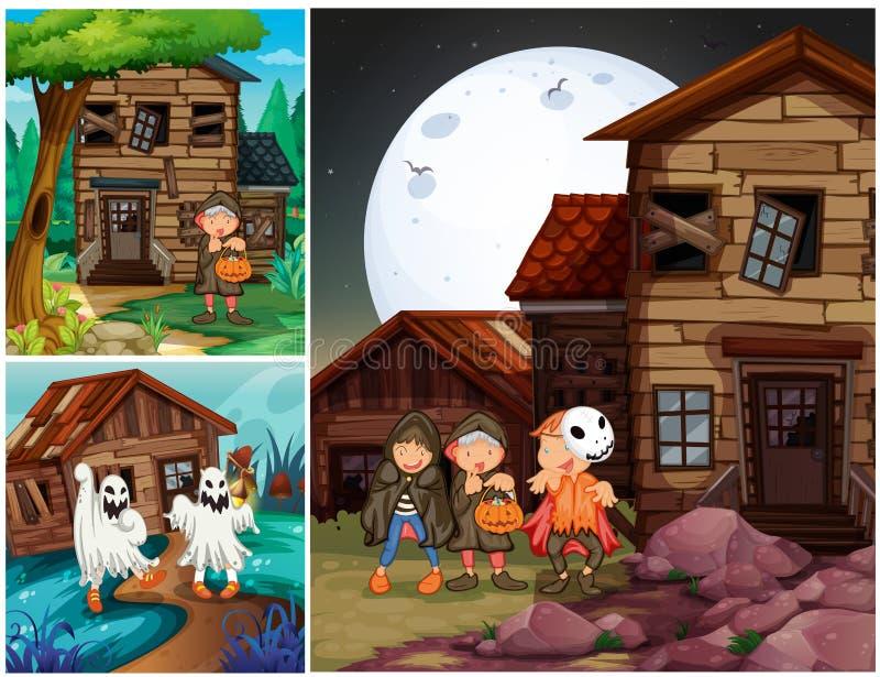 Trois scènes avec des enfants dans des costumes de Halloween illustration stock