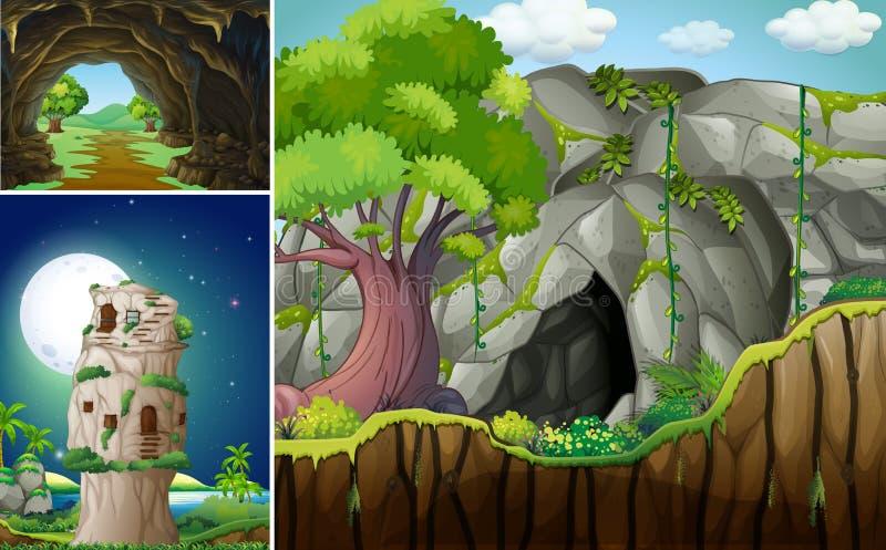 Trois scènes avec la caverne et la montagne illustration libre de droits
