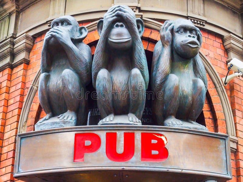 Trois sculptures sages en singes photographie stock libre de droits