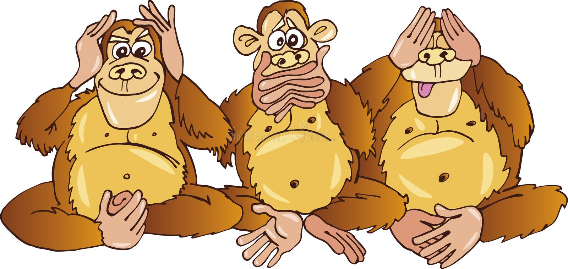 Trois singes illustration libre de droits