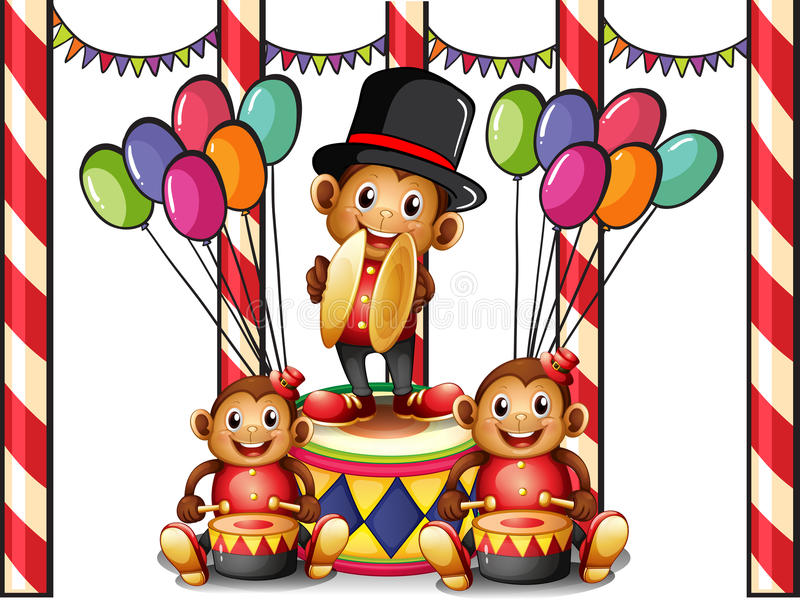 Trois singes au carnaval illustration stock