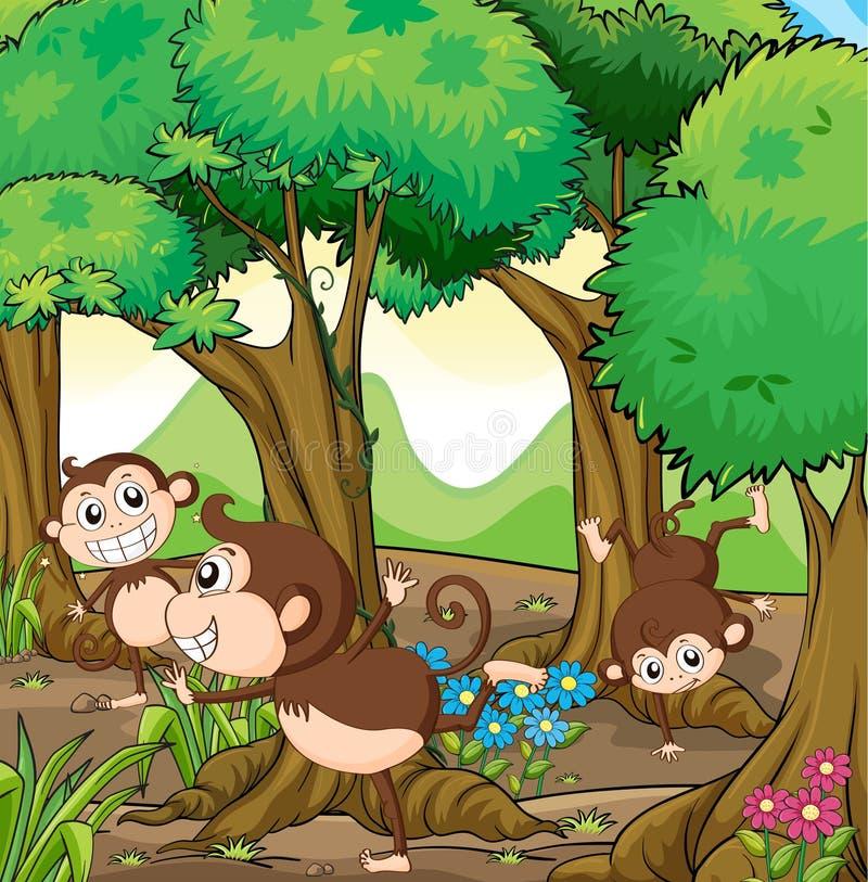 Trois singes jouant dans la forêt illustration de vecteur