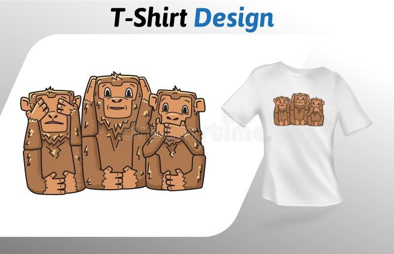 Trois singes ne voient aucun T-shirt mauvais imprimer Moquerie vers le haut de calibre de conception de T-shirt Calibre de vecteu illustration stock