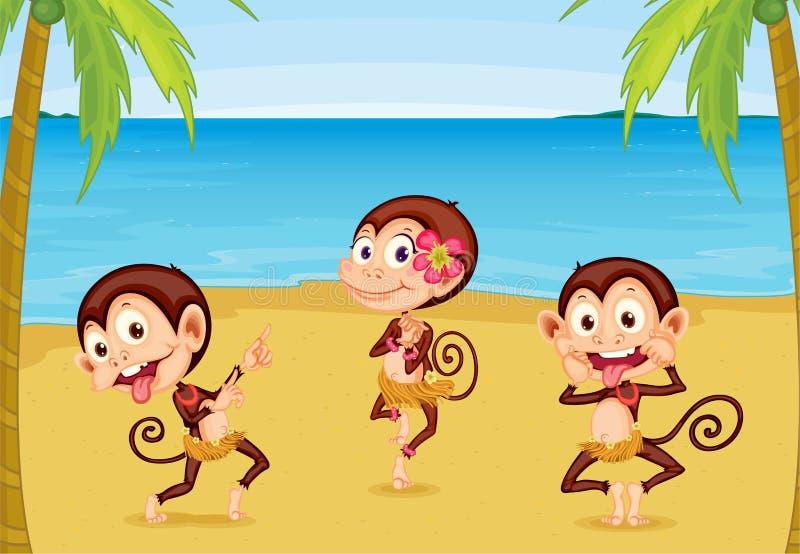 Trois singes sur une plage illustration libre de droits