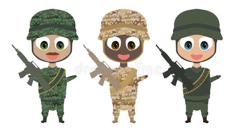 Trois soldats de sourire heureux de bande dessinée illustration libre de droits