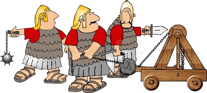 Trois soldats et une catapulte illustration libre de droits