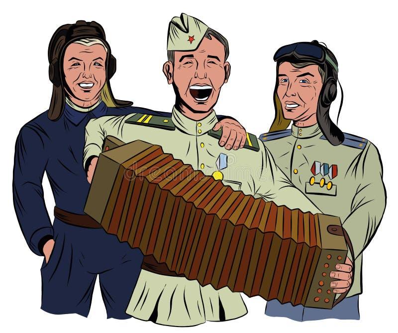 Trois soldats soviétiques chantent et jouent l'accordéon illustration stock