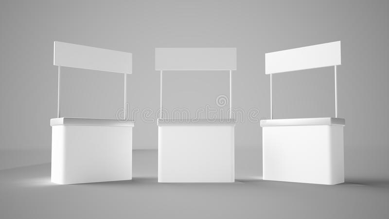 Trois stands d'exposition illustration stock