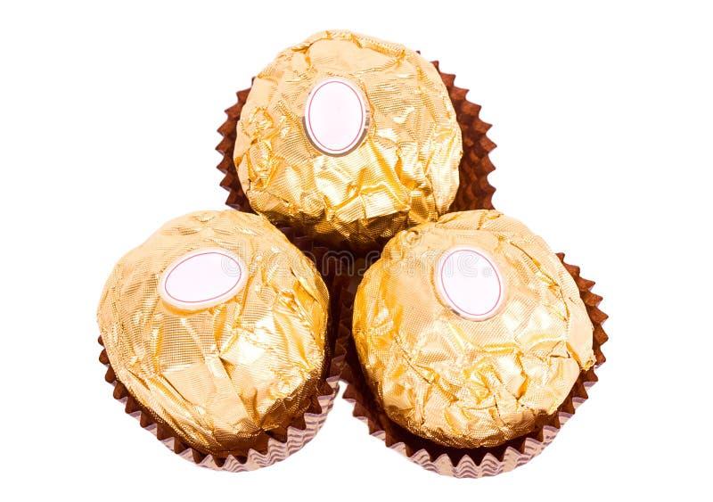 Trois sucreries de chocolat. photos stock