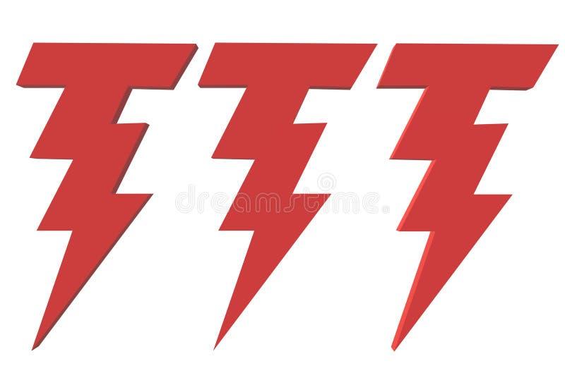 Trois symboles rouges lumineux de boulon de foudre illustration de vecteur