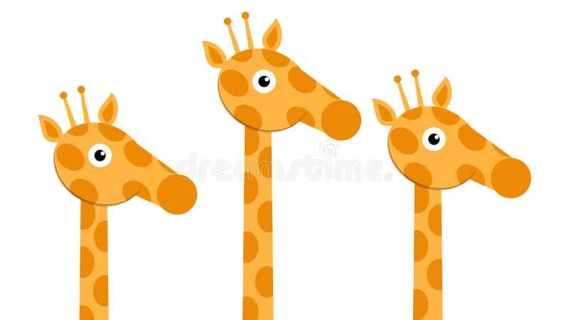 Trois têtes et girafes de cou illustration de vecteur