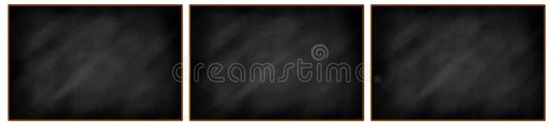 Trois tableaux noirs en blanc dans une rangée illustration libre de droits