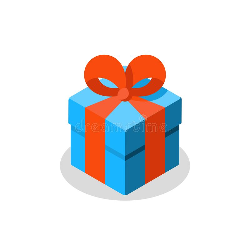 Trois tailles de cadeau, boîte bleue, ruban rouge, don actuel, prix spécial, joyeux anniversaire illustration libre de droits