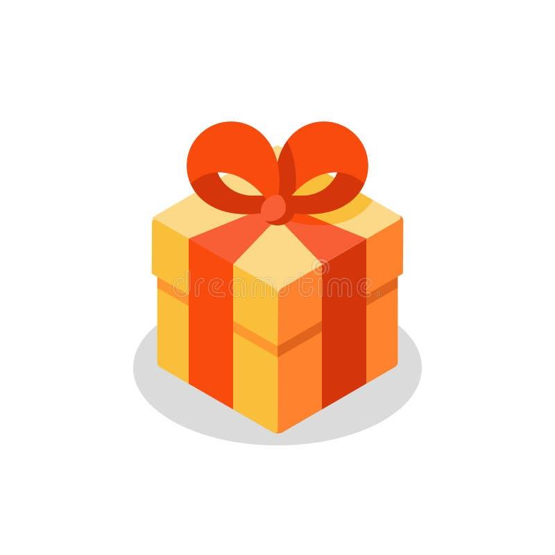 Trois tailles de cadeau, boîte jaune, ruban rouge, don actuel, prix spécial, joyeux anniversaire illustration stock