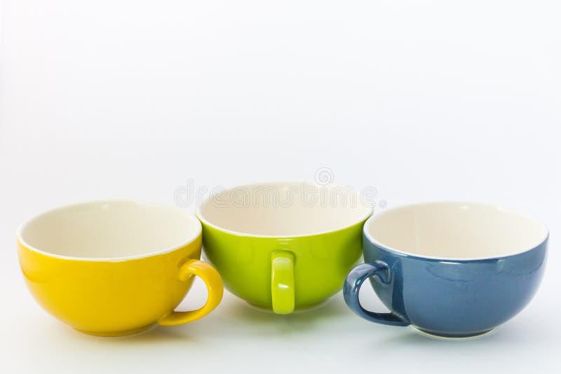 Trois tasses de couleur de café photos libres de droits