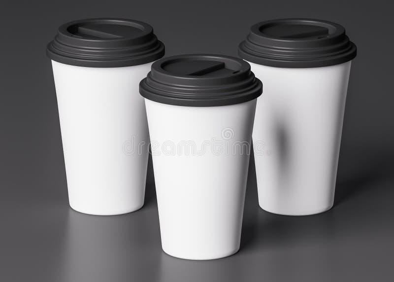Trois tasses de livre blanc avec le couvercle noir - illustration 3D illustration de vecteur