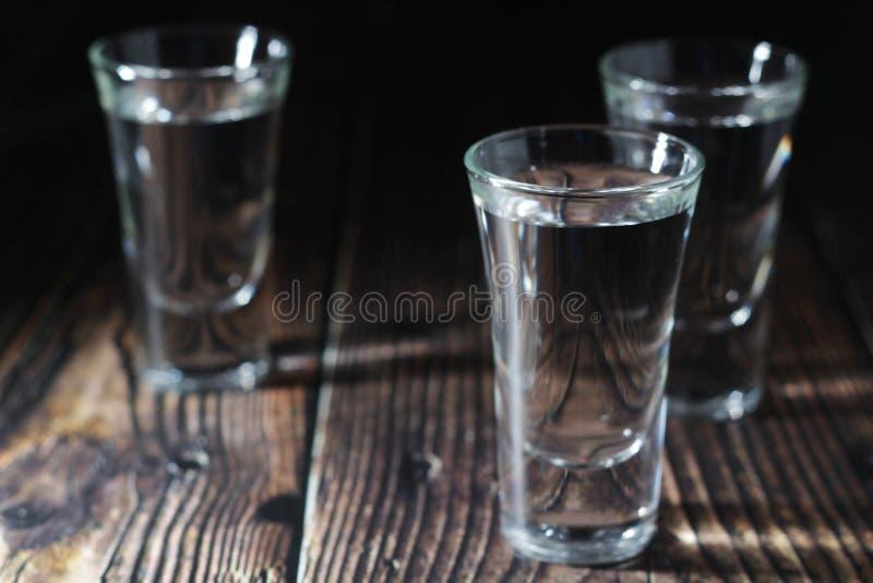 Trois tirs avec la vodka russe image stock