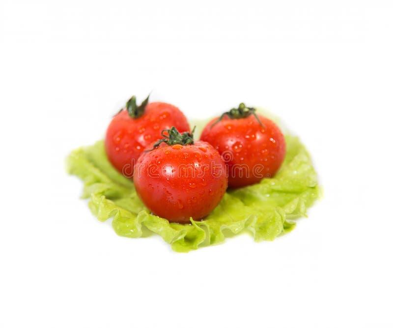 Trois tomates se trouvant sur une feuille de salade verte photos stock