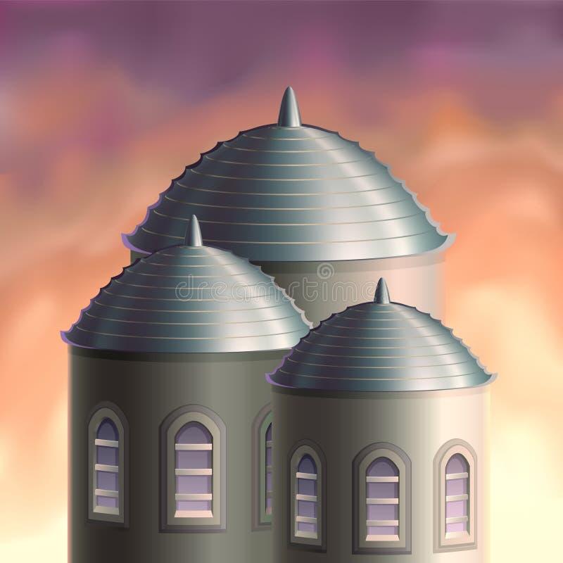 Trois tours d'imagination au coucher du soleil illustration de vecteur