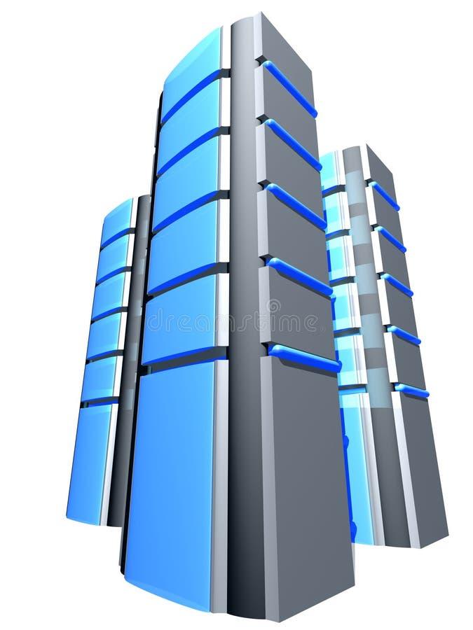 Trois tovers bleus illustration de vecteur