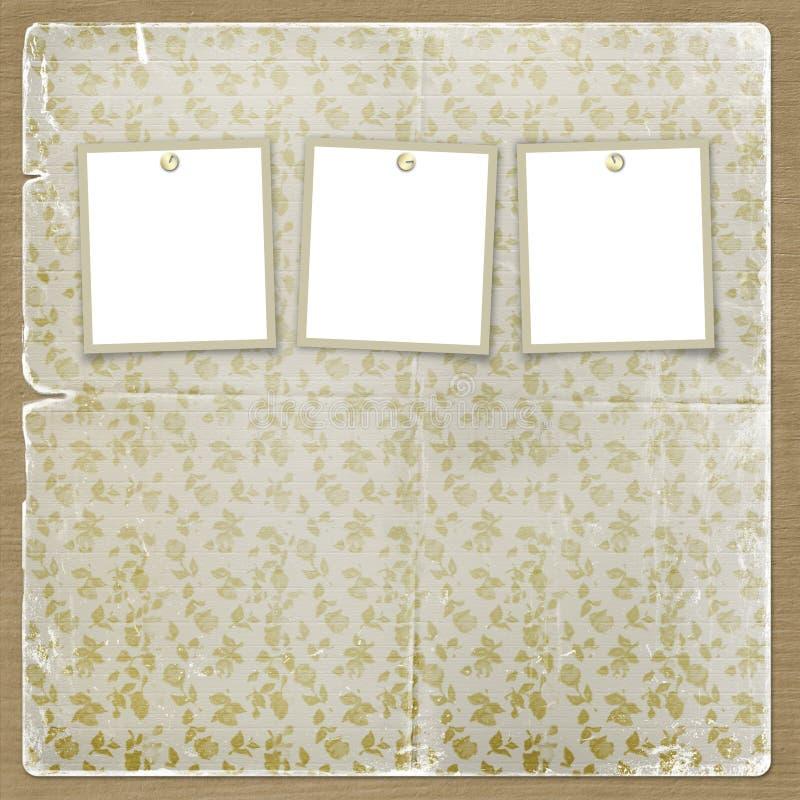 Trois trames pour des photos sur le fond floral illustration de vecteur