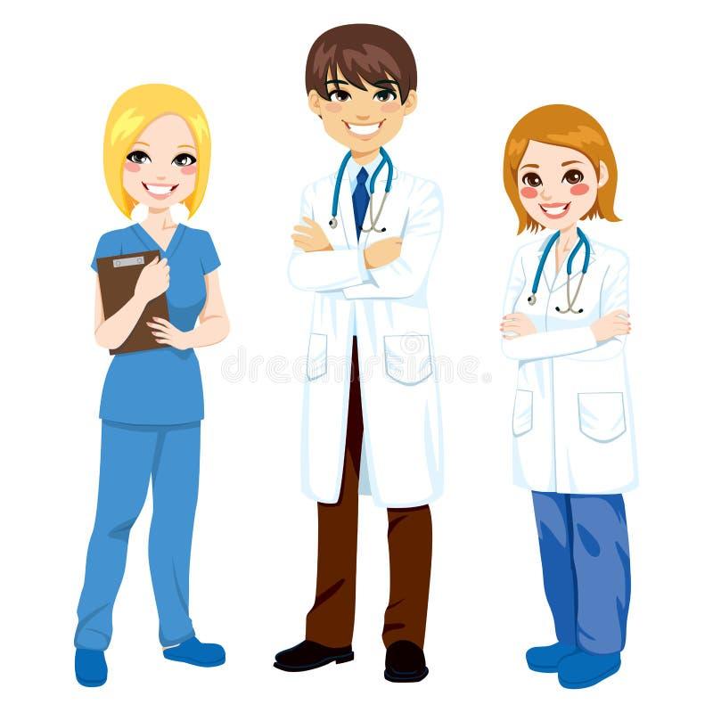 Trois travailleurs d'hôpital illustration stock