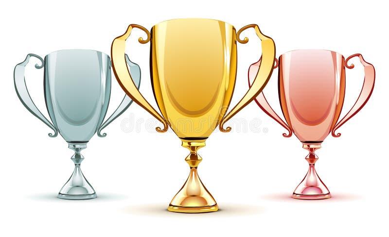 Trois trophées illustration libre de droits