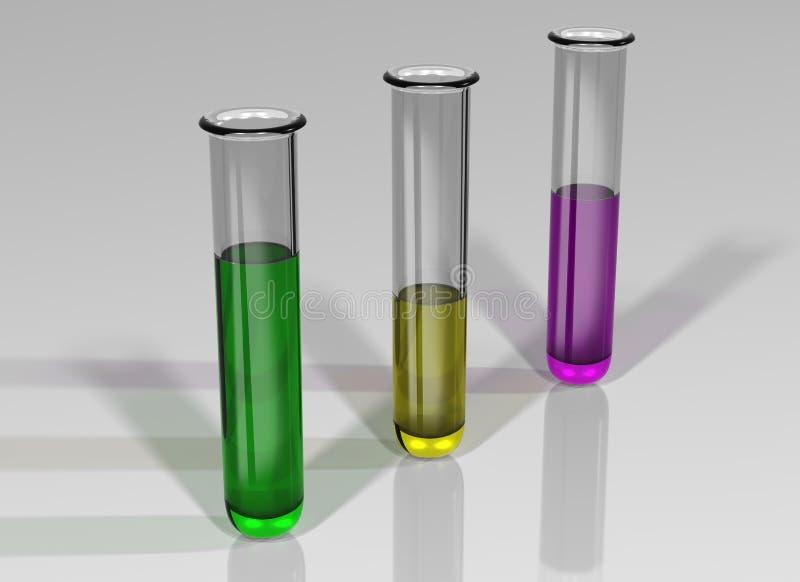 Trois tubes à essai avec des produits chimiques illustration libre de droits